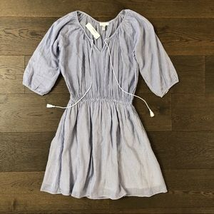 NWT J.Crew striped Blouson dress light blue girly